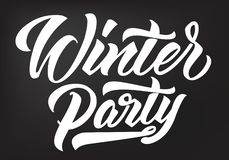 Winter Party calligraphy. stock illustration