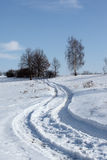 Winter path. Winter landscape with foot prints Stock Photo