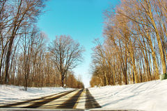 Winter path. Fisheye photograph of a residential street in michigan during winter Royalty Free Stock Photography