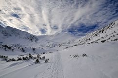 Winter path. And beautiful sky in polish tatra mountains royalty free stock photography