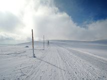 Winter path on hill. Krkonoše mountains - skiing path from Sněžka Stock Photo