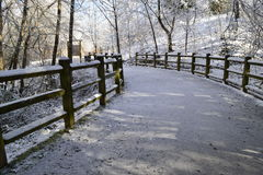 Winter path. Winter landscape with path which goes through the forest, wooden fence on the side of the road and trees covered in frost Stock Image