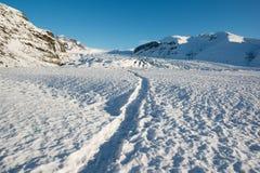 Winter path to the Skaftafellsjokull glacier, Iceland. Deep snow, winter path to the Skaftafellsjokull glacier, Iceland Stock Image