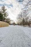 Winter Path. A well walked path through the snow on a cold winter afternoon Stock Image