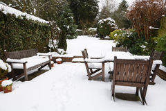 Winter patio and garden Royalty Free Stock Photography