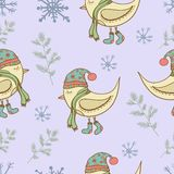 Winter pattern birds snowflake and plants. Winter pattern birds snowflake and tree. Seamless illustration Royalty Free Stock Image
