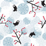Winter pattern with bush, birds, berries. Seamless winter pattern with  snowflakes. Vector illustration Stock Photos