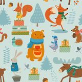 Winter pattern with cartoon characters animals. Vector seamless texture. Winter pattern with cartoon characters animals. Vector seamless texture vector illustration