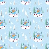 Winter pattern with cute cats. Funny seamless pattern with cheerful cats. Vector background royalty free illustration