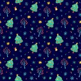 Winter pattern with cute Christmas trees vector illustration