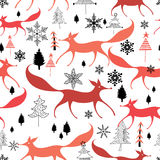 Winter pattern of foxes Stock Photos