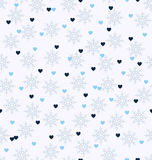 Winter pattern with hearts and snowflakes. Seamless vector backg. Round: blue and light blue hearts, gray snowflakes on white backdrop Stock Photo
