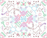 Winter pattern. Lineal pattern with winter motifs stock illustration
