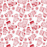 Winter pattern with mittens and socks. Winter white pattern with mittens and socks Royalty Free Stock Photography