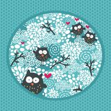Winter pattern with owls and snow. stock illustration