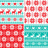 Winter pattern set, Christmas seamless design collection, ugly Xmas jumper style vector illustration