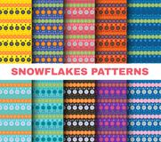 Winter pattern set Christmas snowflakes on colorful backgrounds vector art Stock Photo
