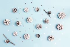 Winter pattern with snow painted pine cones and silver stars on blue background. Top view, flat lay royalty free stock image