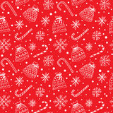 Winter pattern with snowflakes and present sacks. Winter pattern with snowflakes, sweets, snow and present sacks Royalty Free Stock Image