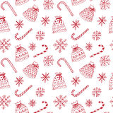 Winter pattern with snowflakes and present sacks. Winter white pattern with snowflakes and present sacks Stock Photography