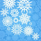 Winter pattern with snowflakes on seamless background. Royalty Free Stock Photo
