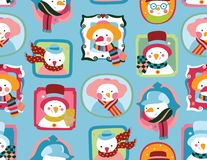 Winter pattern with Snowmen. A fun seamless print with funny and cute snowmen `portraits`, in bright colors. A fresh and fun winter design vector illustration