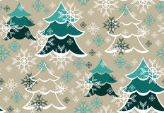 Winter pattern with trees and snowflakes Royalty Free Stock Photos