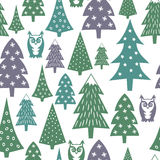 Winter pattern - varied Xmas trees, owls and snowflakes. Simple seamless Happy New Year background. Vector design for winter holidays on white background Royalty Free Stock Images