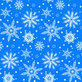 Winter pattern with various falling snowflakes Stock Image