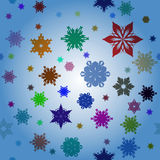 Winter pattern with various falling snowflakes. Royalty Free Stock Photo