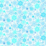 Winter pattern with various falling snowflakes Royalty Free Stock Photos
