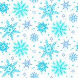 Winter pattern with various falling snowflakes Stock Photo