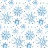 Winter pattern with various falling snowflakes Stock Photos