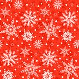 Winter pattern with various falling snowflakes Stock Images