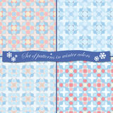 Winter patterns. Set of 4 patterns in winter colors Royalty Free Stock Images
