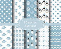 Winter patterns. 10 different winter patterns, Endless texture can be used for wallpaper, pattern fills, web page background,surface textures Stock Images