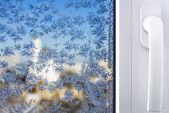 Winter patterns on window Royalty Free Stock Photography