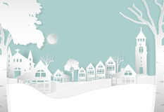 Winter in peaceful the city, nature background, paper art style Royalty Free Stock Photography