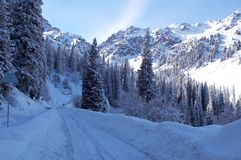 Winter peaks. And snow road Royalty Free Stock Image