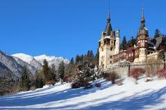 Winter am Peles-Schloss, Rumänien Stockbilder