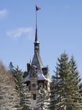 Winter am Peles-Schloss, Rumänien Stockfotos