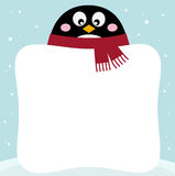 Winter penguin with blank Stock Photo