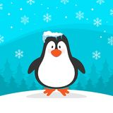 Winter Penguin with Blue Background Vector Image Stock Photos