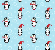 Winter penguin pattern. Winter penguin seamless pattern. Two cute penguins in winter Santa Claus hat and scarf on blue background with white snowflakes. Concept royalty free illustration