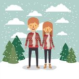 Winter people background with couple in colorful landscape with pine trees and snow falling and both with red sweaters. And scarf vector illustration Royalty Free Stock Photos