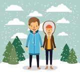 Winter people background with couple in colorful landscape with pine trees and snow falling and him with coat and her. With hooded coat vector illustration Stock Image