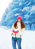 Winter and people concept - beautiful woman having fun Royalty Free Stock Photos
