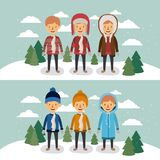 Winter people with two scenes of men with coats and winter clothes in landscape with snow and pine trees in colorful. Silhouette vector illustration Royalty Free Stock Images