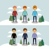 Winter people with two scenes of men with sweaters and winter clothes in landscape with snow and pine trees in colorful. Silhouette vector illustration Royalty Free Stock Photography