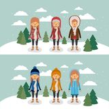 Winter people with two scenes of women with coats and winter clothes in landscape with snow and pine trees in colorful. Silhouette vector illustration Stock Image
